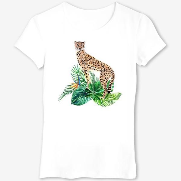 Футболка «леопард в тропиках»