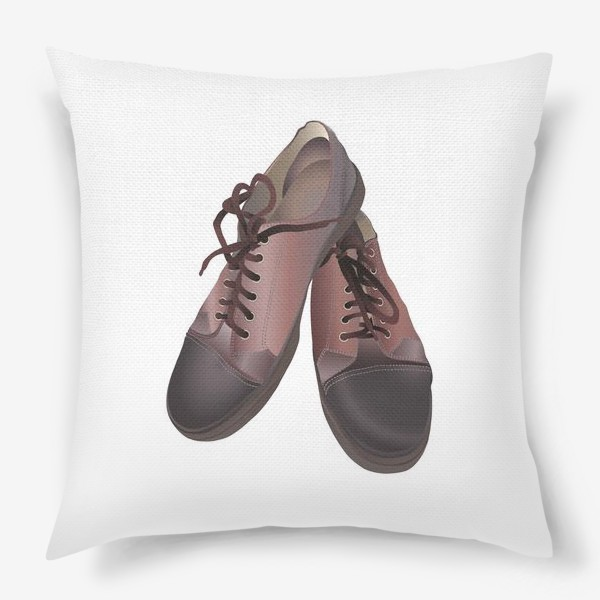 Подушка «Brown leather sneakers pattern in vector clip art»