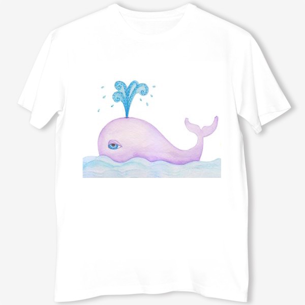 Футболка «blue whale with water fountain»