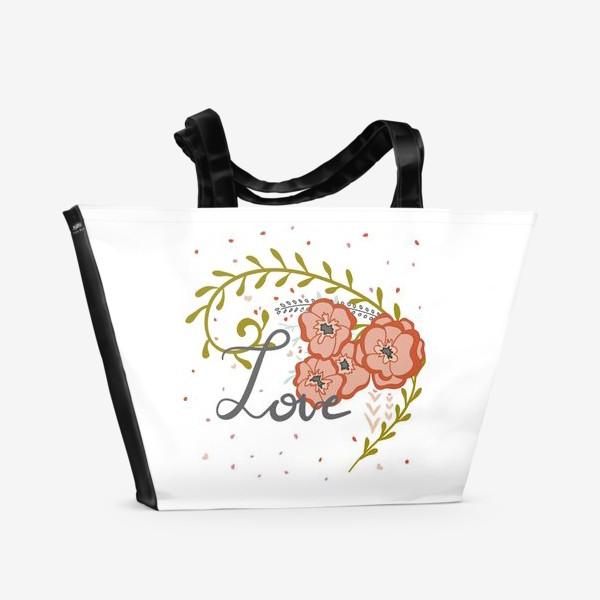 Пляжная сумка «Love in the flowers»