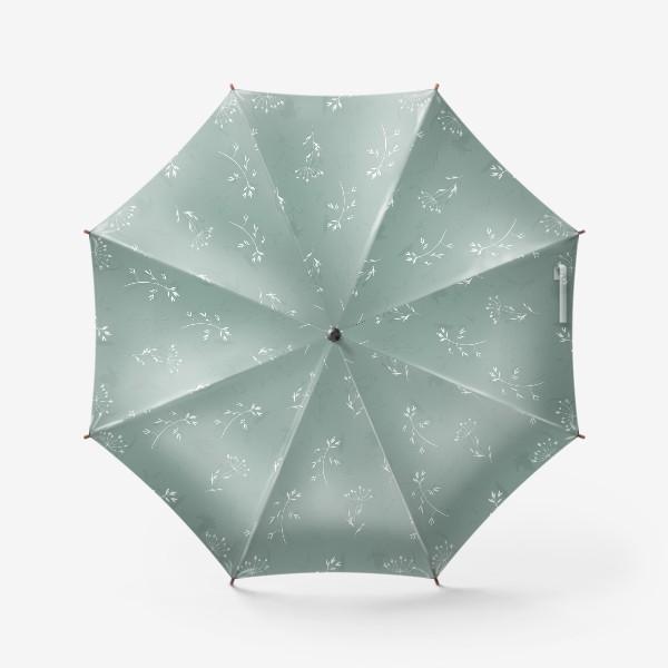 Зонт «Летние полевые цветы и растения на бирюзовом»