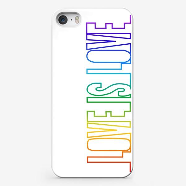 Чехол iPhone «Любовь это любовь, радуга, непрерывная надпись»