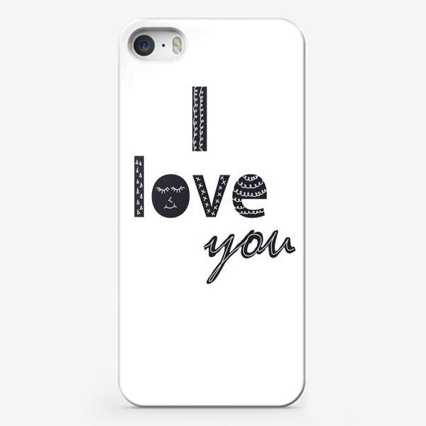 Чехол iPhone «Я тебя люблю, надпись в скандинавском стиле»