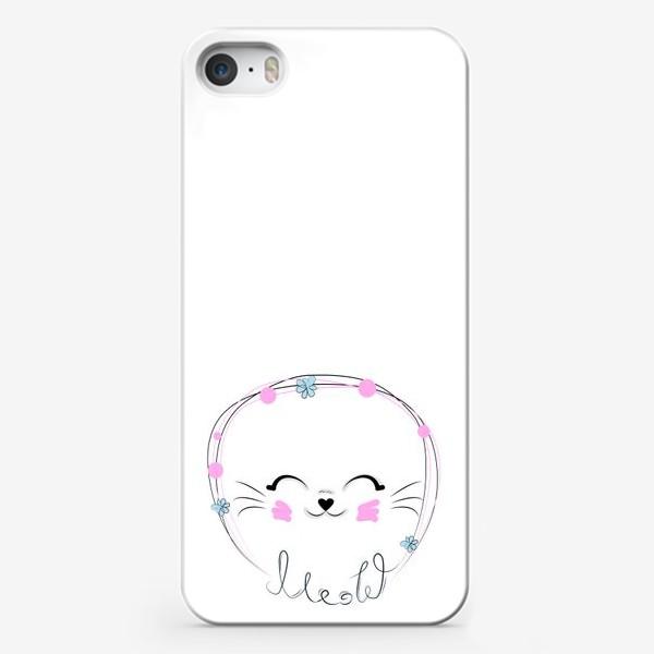Чехол iPhone «Мордочка кошки и надпись Мяу, минимализм»