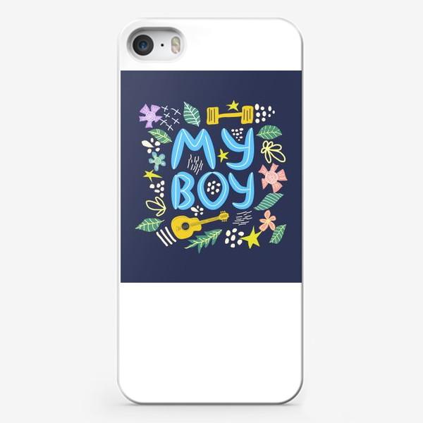 """Чехол iPhone «Надпись """"Мой мальчик"""" с мужскими элементами вокруг»"""