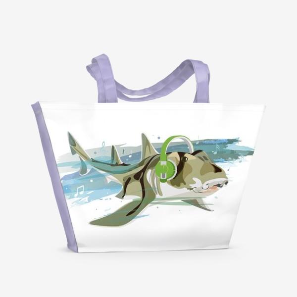 Пляжная сумка «Акула и музыка. Австралийская рогатая акула.»