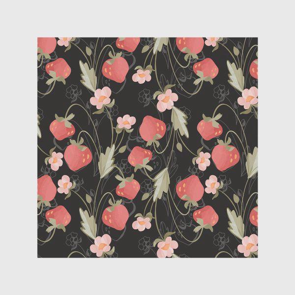 Скатерть «Паттерн клубника ягоды на черном»