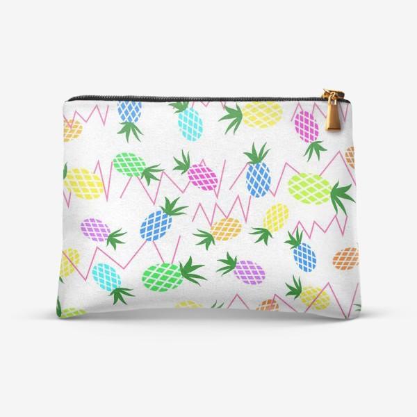 Косметичка «Разноцветные  ананасы»