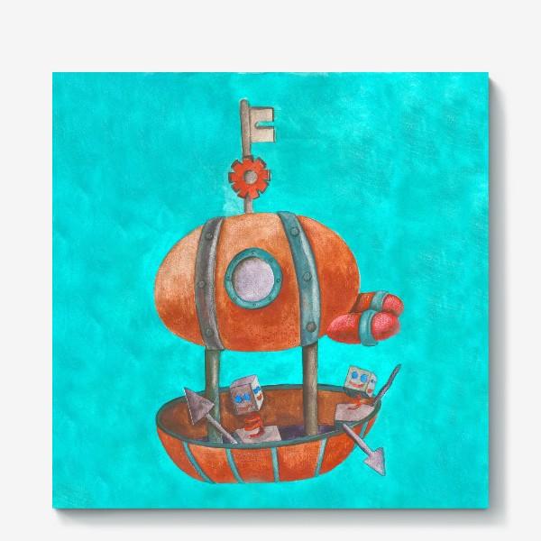 Холст «Дирижабль с роботами в стиле стим-панк »