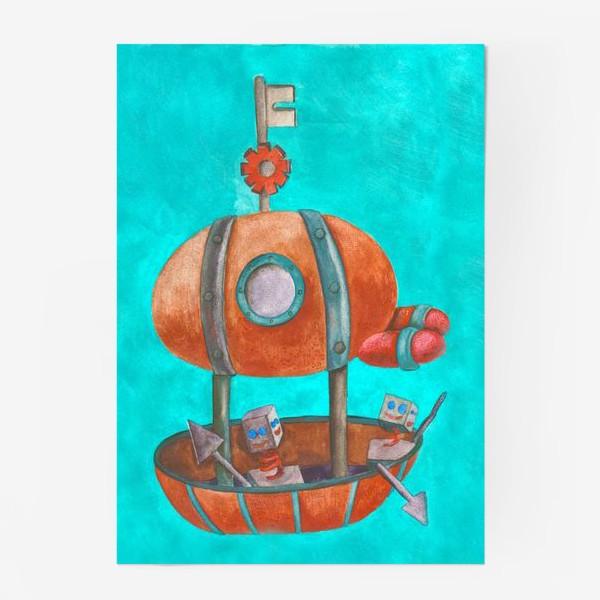 Постер «Дирижабль с роботами в стиле стим-панк »
