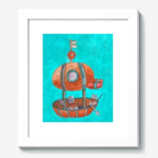 Картина «Дирижабль с роботами в стиле стим-панк »