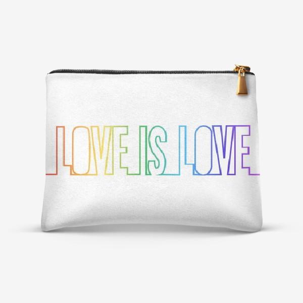 Косметичка «Любовь это любовь, радуга, непрерывная надпись»