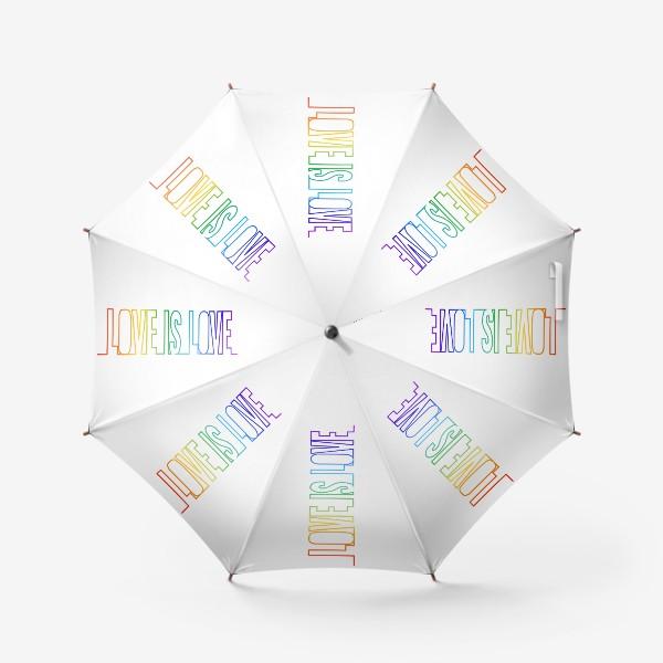 Зонт «Любовь это любовь, радуга, непрерывная надпись»