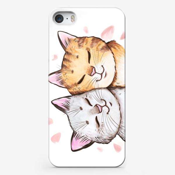Чехол iPhone «Кошки и сакура»