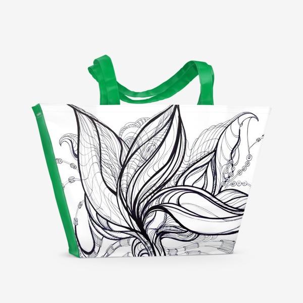 Пляжная сумка «Черно белая графика»