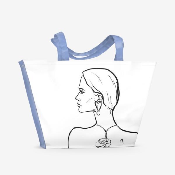 Пляжная сумка «девушка с цветком»