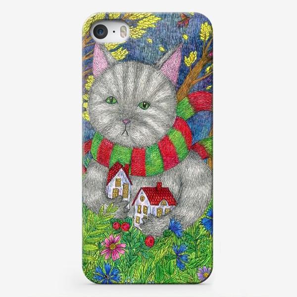 Чехол iPhone «Золотые листья. Сказочная картина с котом»