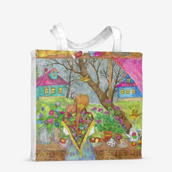 Сумка-шоппер «Сумерки. Деревенский пейзаж»