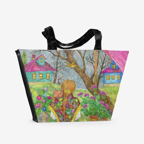 Пляжная сумка «Сумерки. Деревенский пейзаж»