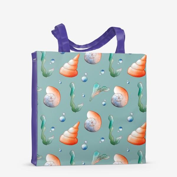 Сумка-шоппер «Морские ракушки на бирюзовом»