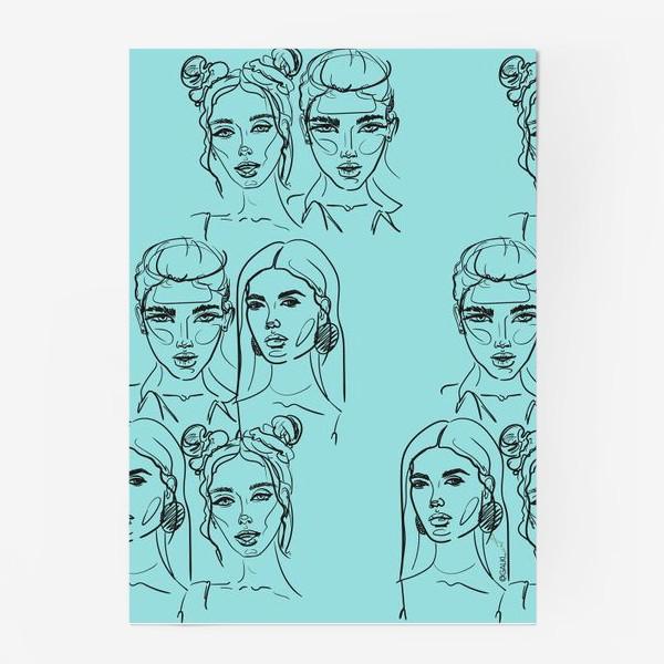 Постер «Паттерн из лиц на голубом. Скетч. Линейный рисунок.»