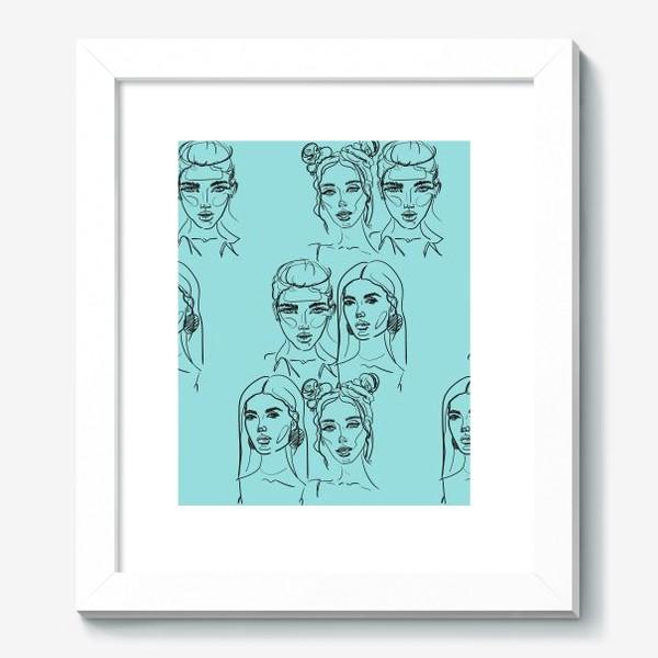 Картина «Паттерн из лиц на голубом. Скетч. Линейный рисунок.»