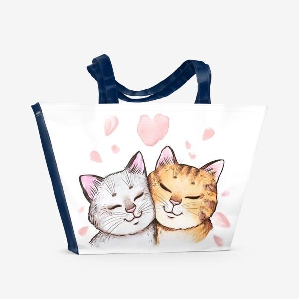 Пляжная сумка «Кошки и сакура»