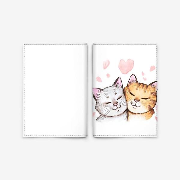 Обложка для паспорта «Кошки и сакура»