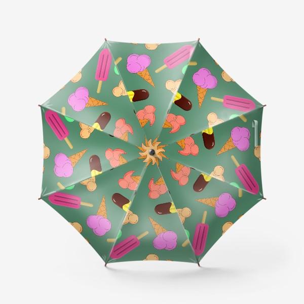 Зонт «Мороженое на  зеленом фоне»