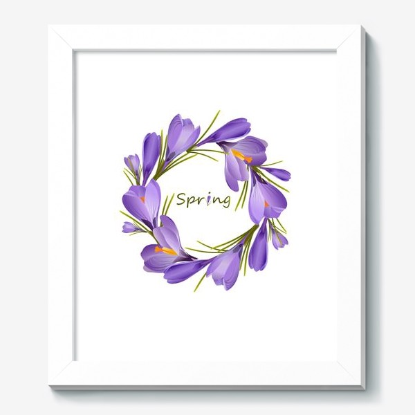 Картина «Spring, a wreath of crocuses primroses.»