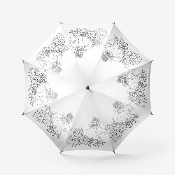 Зонт «Девушка фотограф в цветах, скетч»