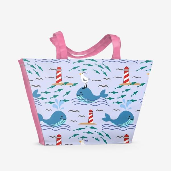 Пляжная сумка «Киты и чайки»