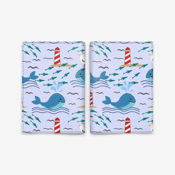 Обложка для паспорта «Киты и чайки»