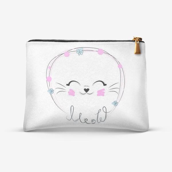 Косметичка «Мордочка кошки и надпись Мяу, минимализм»