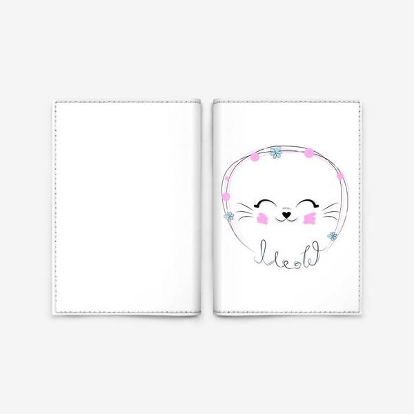 Обложка для паспорта «Мордочка кошки и надпись Мяу, минимализм»