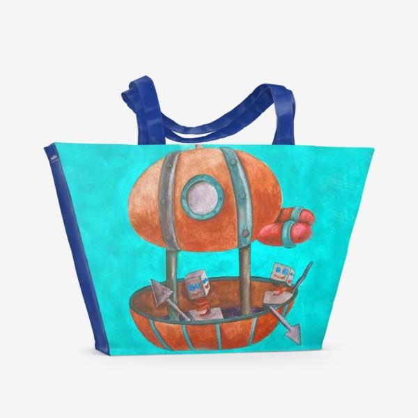 Пляжная сумка «Дирижабль с роботами в стиле стим-панк »