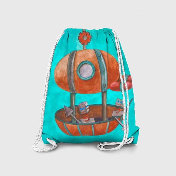 Рюкзак «Дирижабль с роботами в стиле стим-панк »