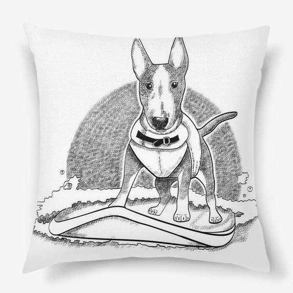 Подушка «собака и серфинг»