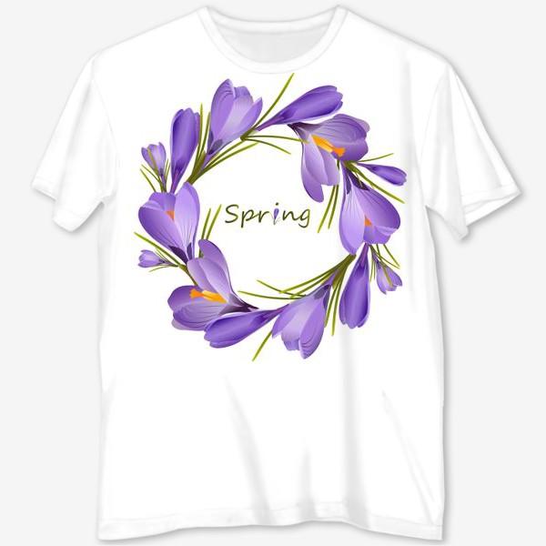 Футболка с полной запечаткой «Spring, a wreath of crocuses primroses.»