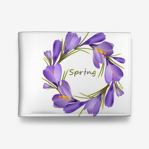 Кошелек «Spring, a wreath of crocuses primroses.»