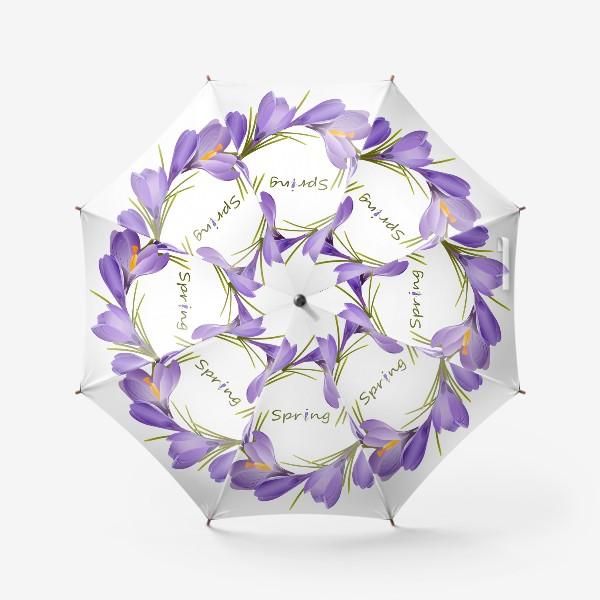 Зонт «Spring, a wreath of crocuses primroses.»