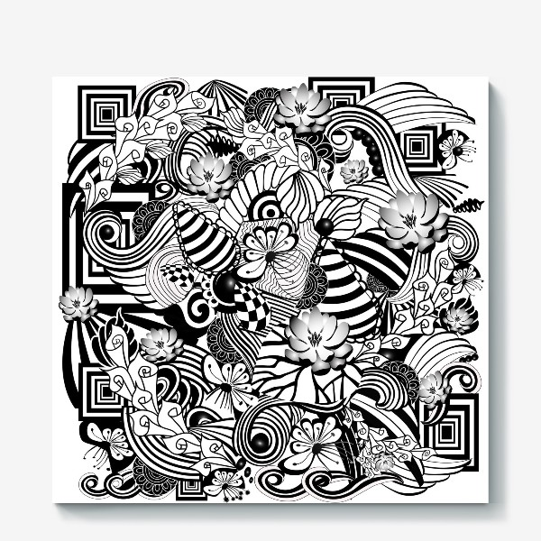 Холст «Zenart Anti-stress picture flowers and figures Doodle black and white.»