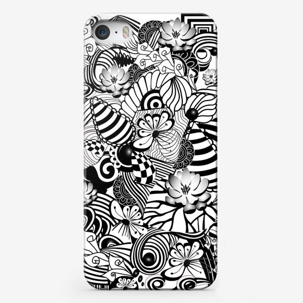 Чехол iPhone «Zenart Anti-stress picture flowers and figures Doodle black and white.»