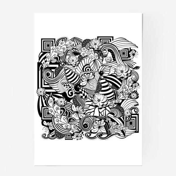 Постер «Zenart Anti-stress picture flowers and figures Doodle black and white.»