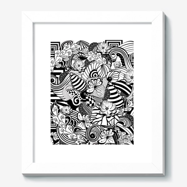 Картина «Zenart Anti-stress picture flowers and figures Doodle black and white.»