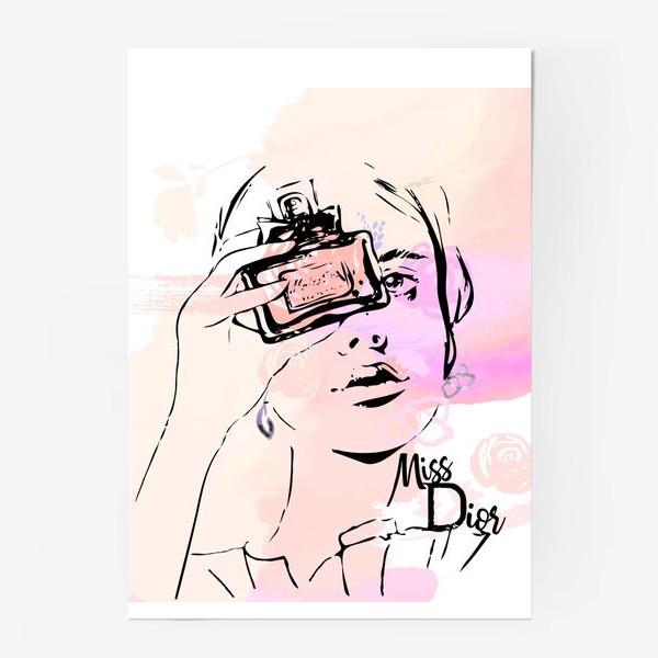 Постер «Fashion illustration. Девушка с духами на акварельном фоне »
