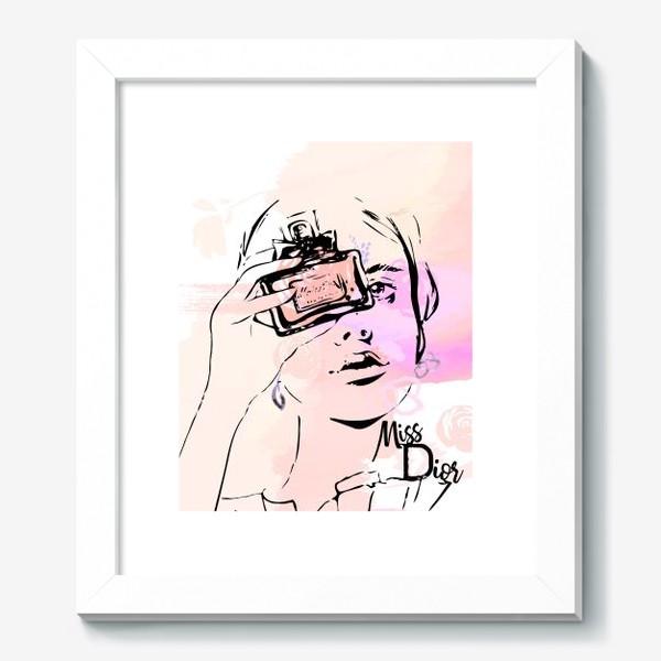 Картина «Fashion illustration. Девушка с духами на акварельном фоне »