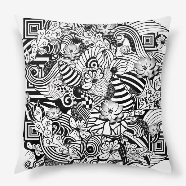 Подушка «Zenart Anti-stress picture flowers and figures Doodle black and white.»