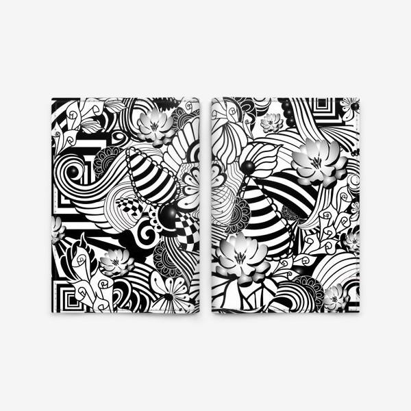 Обложка для паспорта «Zenart Anti-stress picture flowers and figures Doodle black and white.»