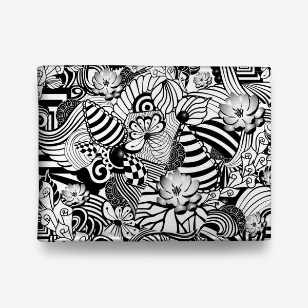 Кошелек «Zenart Anti-stress picture flowers and figures Doodle black and white.»